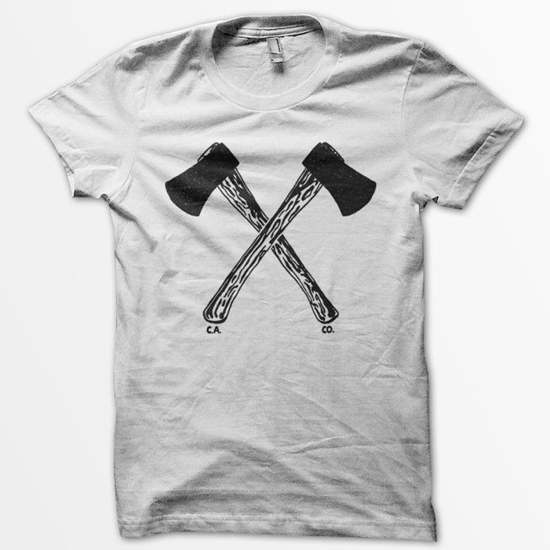 Hatchets unisex white t-shirt image 0