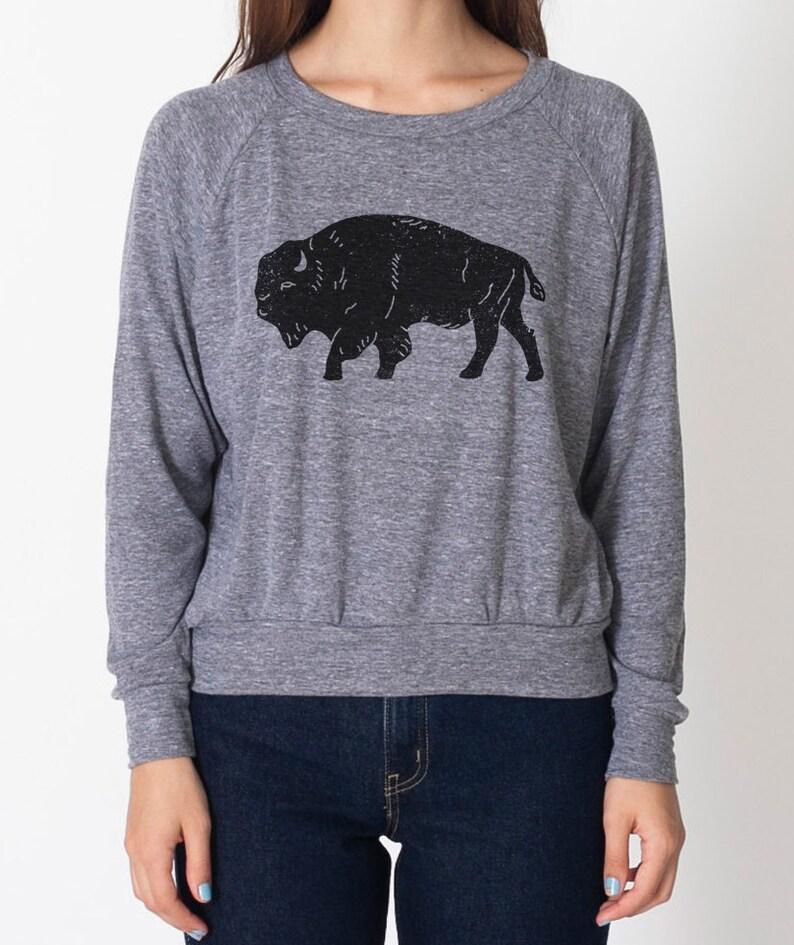 Bison women's tri-blend grey raglan AA pullover image 0