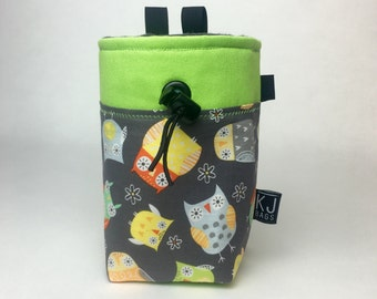 Cute Owls and Neon Green Chalk Bag