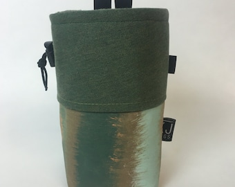 Handmade Forest Green Painted Canvas Chalk Bag