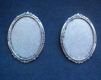 2 Brooch Settings to fit 40mm x 30mm cameo or cabochons