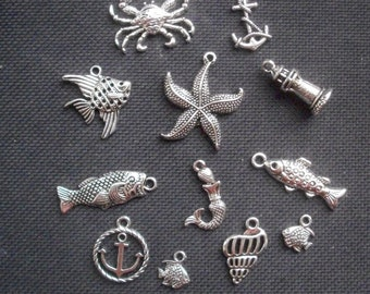 8 Assorted Sea Creatures  Ocean Life Fish Charms Silver Tone Metal