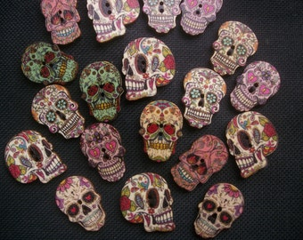 15 Assorted Day of the Dead Sugar Skull Wooden Buttons 25mm