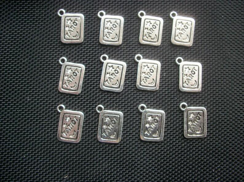 6 Tarot Card Charms Silver Tone Metal 18mm