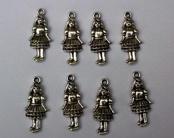 8 Alice in Wonderland, Dorothy Wizard of Oz, Girl, Silver Tone Metal Charms