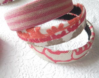 RED PINK multi floral embroidered headbands, curly hair accessory, headbands for women