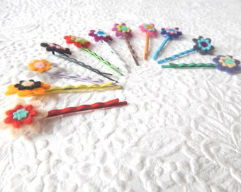 Floral hair pins, colorful bobby-pins, mini flower hair accessory, curly hair accessory, set of 3