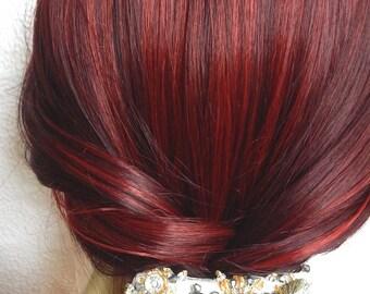 Light grey beaded hair barrette, art deco clip for thick hair, summer hair decoration