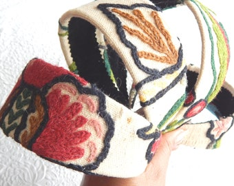 VINTAGE crewel embroidered headbands, crowns for women, hair accessory, wide headbands