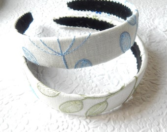 Floral embroidered blue green headbands, curly hair accessory, headbands for women