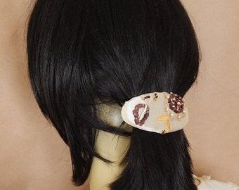 CLEARANCE - Beaded barrette, fabric barrette, oval barrette, hair accessory, fashion accessory