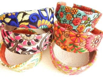 Bright floral embroidered wide headbands, gift for swimmers, quick hair style option, wash and go hair accessory