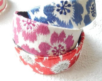 IKAT embroidered blue, pink, red fabric headbands for women, hair accessory, wide headbands