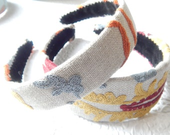 GOLD embroidered fabric headbands for women, hair accessory, thin and wide headband