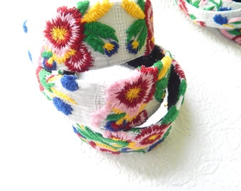 Floral YELLOW GREEN PINK embroidered fabric headbands for women, hair accessory, thin and wide headbands
