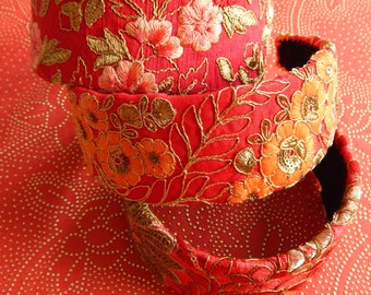 RED wide embroidered fabric headbands for women, floral hair crown, garden party hair accessory, wide 2 inch headbands