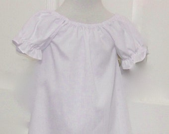 d09716a2a2895c Girls White Dress Peasant Style White Short Sleeve Dress Folk Costumes  Beach Dress Baptismal Dress Sizes infant 6 mth to girls 12
