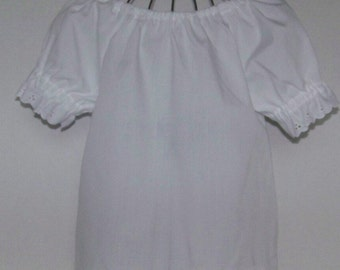 505118ec1d7988 Clothing Children Girls Blouse or Dress-Short Sleeve White with Eyelet  TrimFolk Costume Pirate Shirt- Infant Toddler White Blouse or Dress