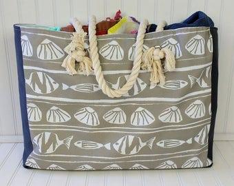 Beach Bag Extra Large - Gray & White Beach Tote - Waterproof Beach Bag - Rope Handles - Nautical Beach Bag
