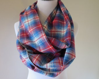 Red Plaid Scarf -  Blue Flannel Scarf - Clothing Gift -  Red & Blue Plaid - Scarves for Women - Women's Scarf - Winter Scarf
