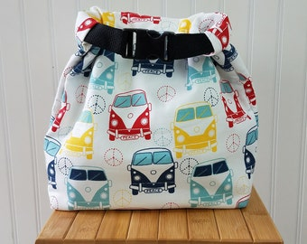 VW Bus Bag - Lunch Bag - Lunch Bag for Women - Lunch Bag Insulated - Lunch Bag Tote - Roll Top Lunch Bag