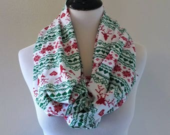 fair isle reindeer infinity scarf gift for her christmas scarf christmas infinity scarf red reindeer and heart scarf nordic scarf
