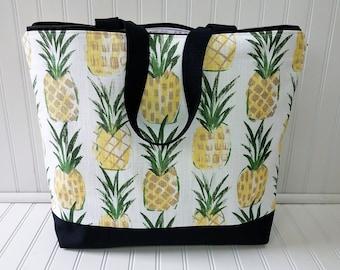 Large Beach Bag -Pineapple Bag -Pineapple Beach Bag - Pineapple Tote - Pineapple Tote Bag - Pineapple Beach Tote - Pineapple bag with Zipper