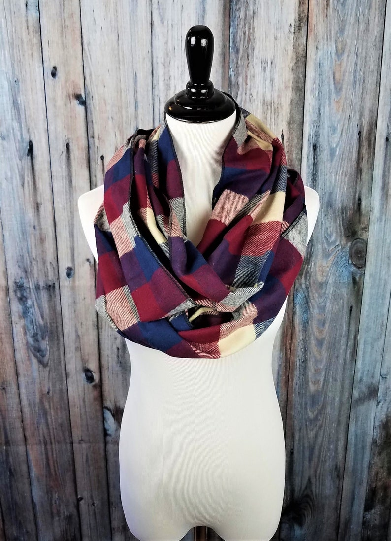 Red and Navy Buffalo Plaid Check Scarf Red Buffalo Plaid Gift image 0