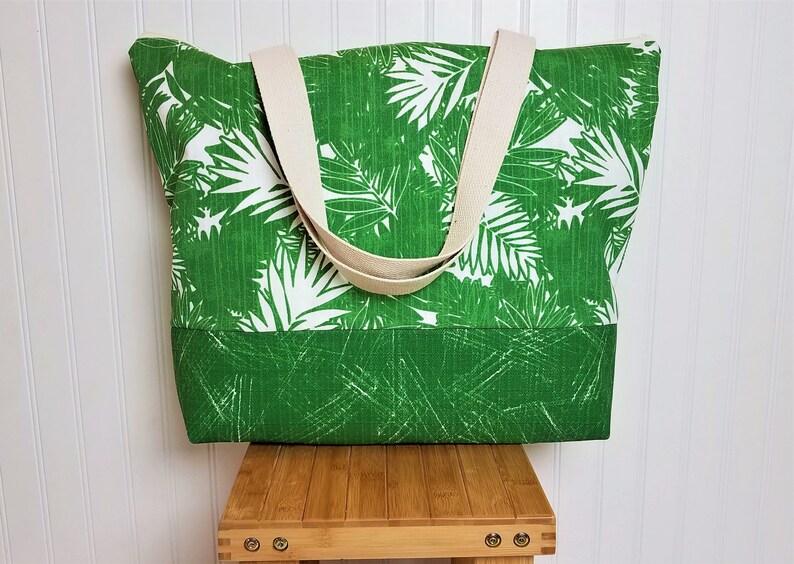 Beach Bag  Beach Bag Tote  Beach Bag with Zipper  Tropical image 0