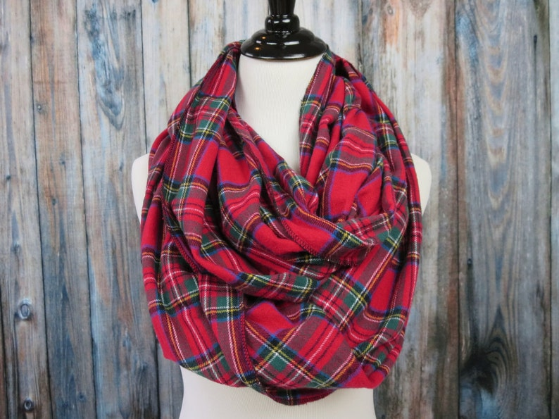 Red Plaid Flannel Scarf  Plaid Infinity Scarf Infinity XL Wide (pictured)