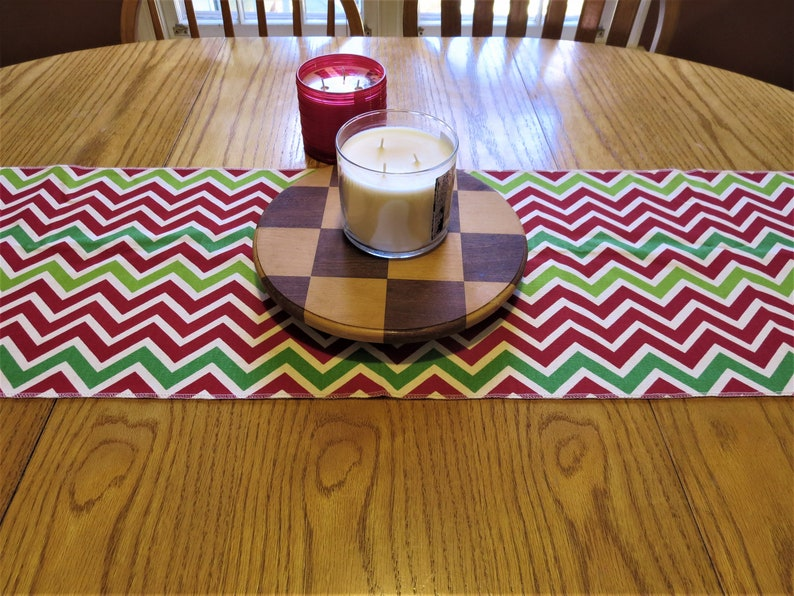Red & Green Table Runner  Holiday Decor Christmas Table image 0