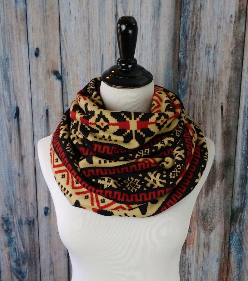 Fair Isle Scarf  Gift for Her  Snowflake Scarf  Mom Gift  image 0