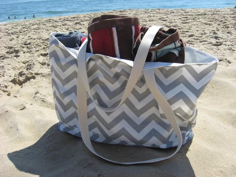 Beach Bag Extra Large  Gray & White Chevron Beach Tote  Gray