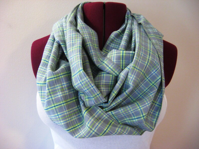 Gray Flannel Infinity Scarf  Gray Plaid Scarf  Extra Long  image 0