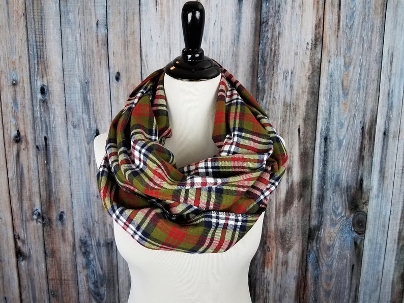 Plaid Scarf Mom Gift Infinity Scarf Plaid Infinity image 0