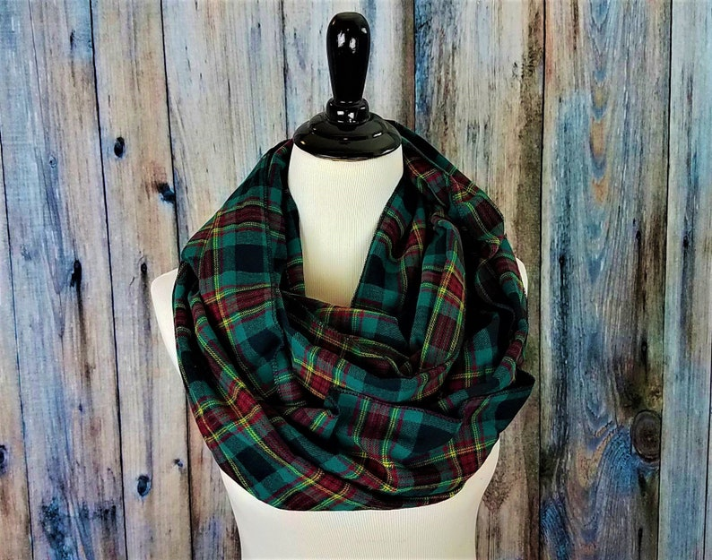 Green Plaid Scarf Plaid Scarf-Infinity Scarf Plaid Infinity image 0