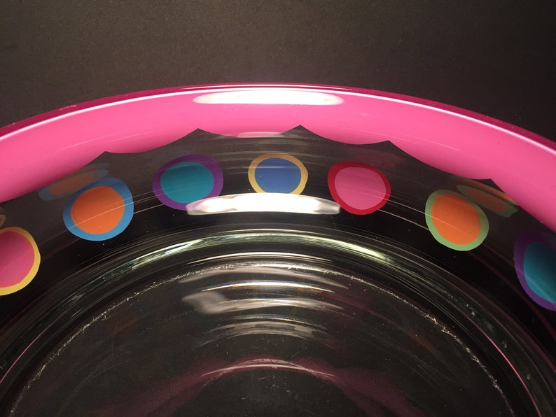 pink edged bowl with polka dots by detroit glass company