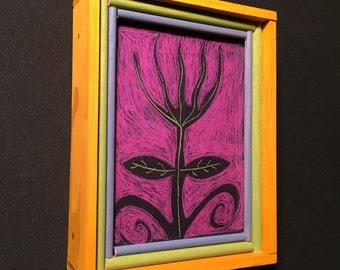 portrait of a garden weed in fushia, a print of original painting with handmade wood frame