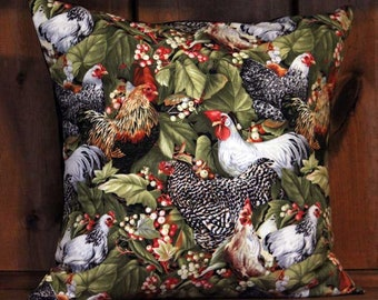 Chickens Removable Decorative Throw Pillow Cover, 18 x 18