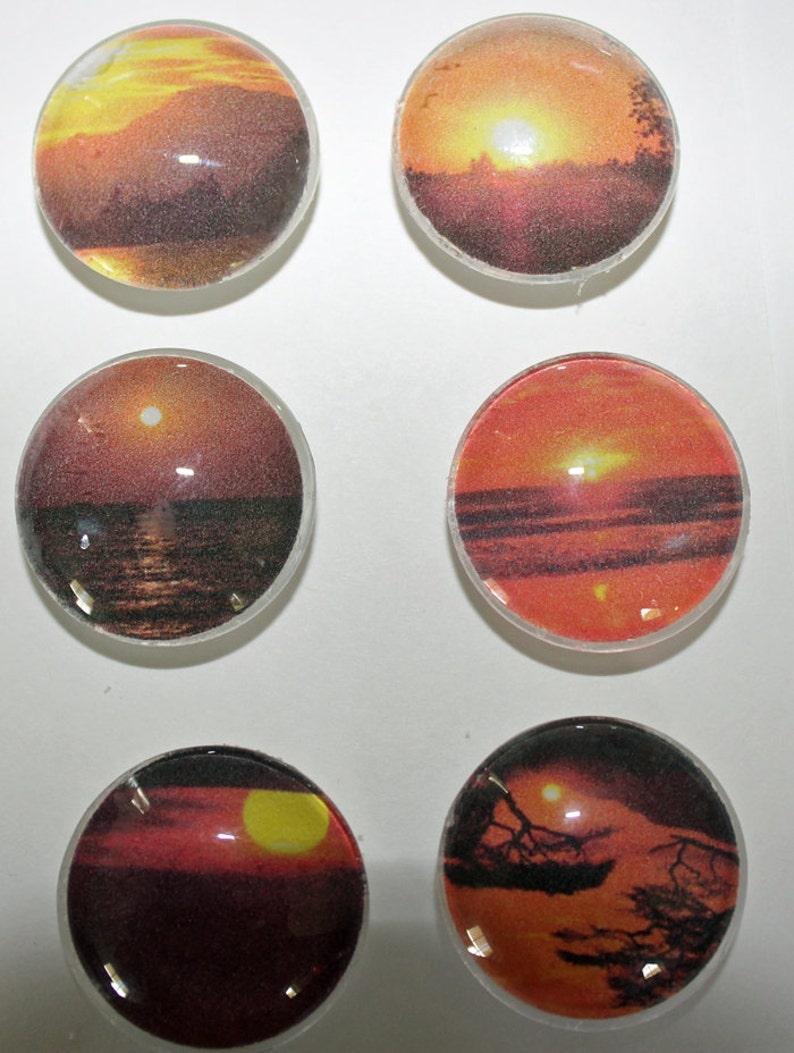 Sunsets Glass Gem Strong Magnets Set of 6