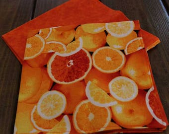 All About Orange Reversible Cloth Napkins - Set of 4