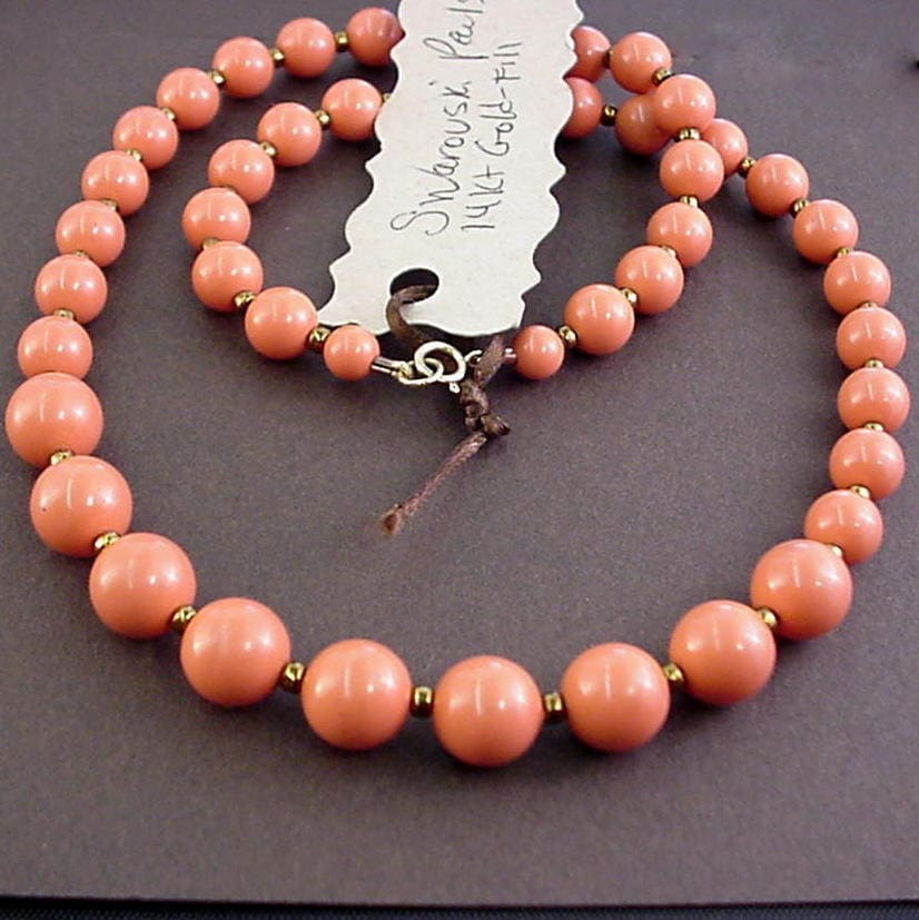 Peach Pearl Necklace: Coral Pearl Necklace Salmon Pearls Peach Pearl Necklaces