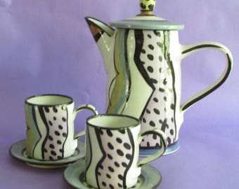 PARKER Teapot, with 2 cups and saucers