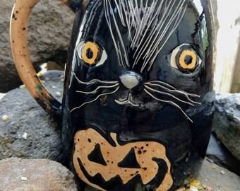 Made to order Black cat mug  Pumpkin kitty decor wicca wiccan Samhain coffee tea Jack 'o Lantern mug black and orange Halloween lover