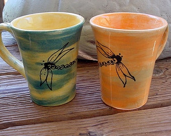 Dragonfly mug pottery dragonflies cup choose color