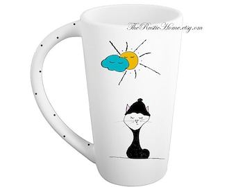 Sweater kitty cat mug pottery coffee mug tea latte tall mug 16 ounces made to order personalize or not kitty in beanie clouds sunshine cat