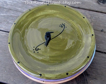 Raven dinner plate pottery made to order tableware kiln fired choose colors mix and match custom plates birds branches custom dinnerware