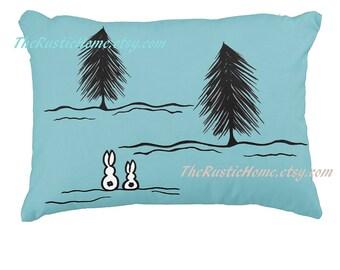 Winter bunnies woodland toss pillow snow bunnies pine trees bunny rabbit pillow custom pillows accent pillow rustic home decor rabbits