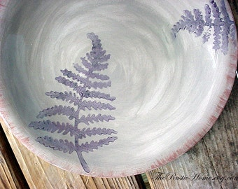 Rustic fern pottery dinner plate grey and plum or choose your colors custom plates tableware