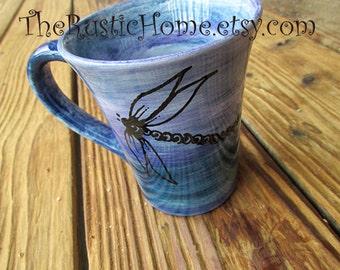 Dragonfly mug pottery mug custom dragonflies cup choose colors tea coffee cup mug handmade mug rustic mug personalized mug gardener gift